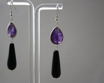 Gemstone Earrings, Sterling Silver Long Drop Agate and Bezel Set Amethyst Earrings, Faceted Stone