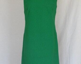 DRESS SALE!!!!  1960s Dress / Green Grass Clover Textured Scooter Sun Dress / Metal Zipper