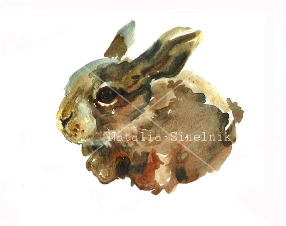 Cute small rabbit digital download from original watercolor pattern nursery art Easter fluffy hare clip art