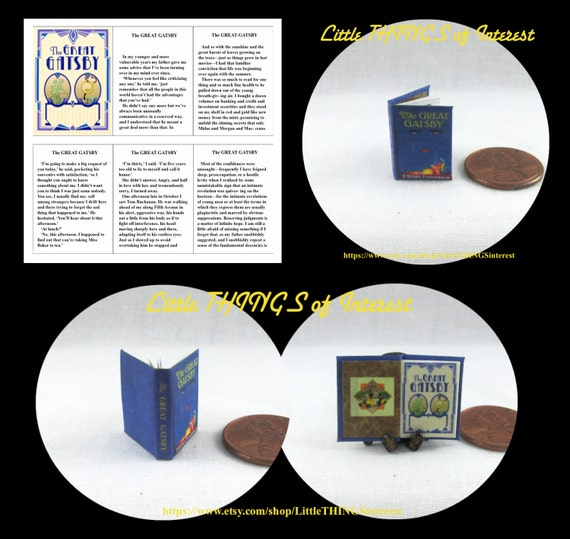 The GREAT GATSBY, by F. Scott Fitzgerald Readable Miniature Book Dollhouse 1:12 Scale Book