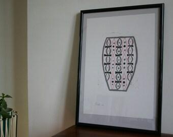 Pink 'modernist 1950s' inspired vase reduction linoprint