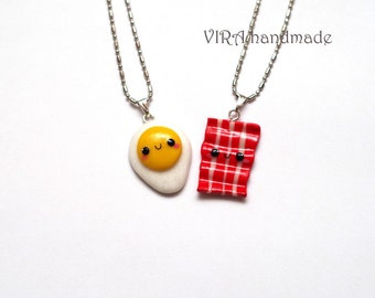Kawaii Egg and Bacon Best Friends Necklaces or Earrings
