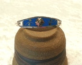 Vintage Taxco Mexico Silver Bracelet - Inlaid Mother of Pearl - Turquoise Enameling - Hinged Cuff Bracelet