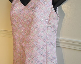 1960s Malcom Starr Pink and Silver Brocade Shift Dress