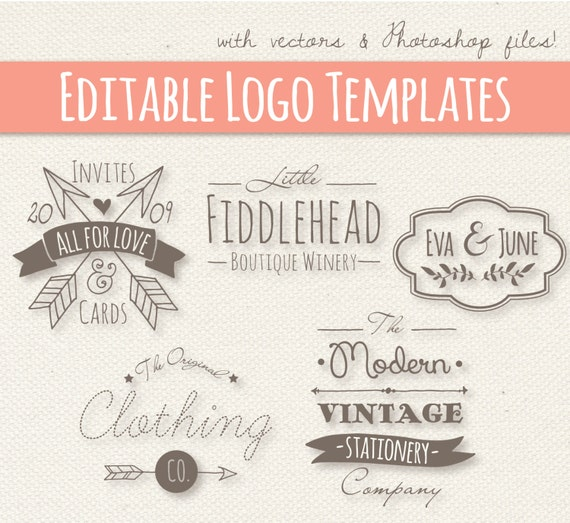 Modern Vintage Style Logo Templates Set 4 Editable Small Business Design Photoshop PSD Vector EPS Commercial Use