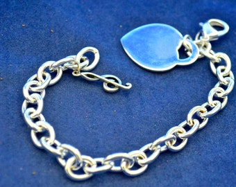 """Silver Musical Charm Bracelet, 7.5"""" long, Sterling Music Charm, Other Metal is Sterling Filled B71"""