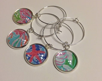 Set of 4 Wine Charms in Your Favorite Preppy Patterns!
