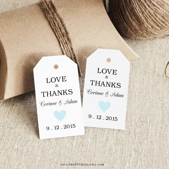 Favor Tag Printable, Col #29, SMALL size, Text-Editable, Instant Download, Favor tag, Thank You Tag, Wedding Tags, Heart
