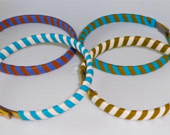 Handmade Striped Leather Bangles