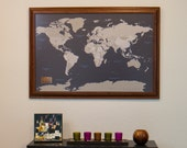 Personalized Earth Toned World Push Pin Travel Map with Pins and Frame 24x36  - Push Pin Travel Map