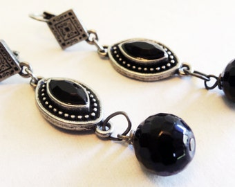 Black and Antiqued Silver Dangle Earrings Handmade by Lindsey - Vintage Inspired - Antiqued Silver Pendant - Gothic Inspired