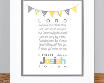 "Personalized Boys Prayer with Bunting - 8x10"" PRINT - Baptism Gift - Christening Gift - Baby Gift - Nursery Wall Art"