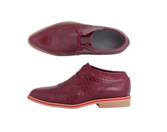 Last Pair 40% pointy oxfords Burgundy oxford shoes , handmade leather women's shoes