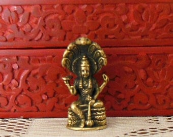 VISHNU STATUE Tiny brass Deity portable altar, Lord Vishnu seated on coiled hooded snake, Brass Vishnu w Seven Headed Serpent Statue Narayan