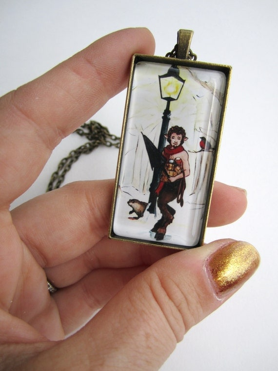 Mr. Tumnus in Narnia Domino Pendant Necklace
