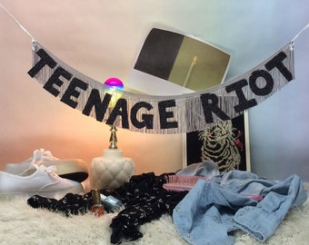 Teenage Riot Glittering Fringe Banner | fringe wall hanging, daydream nation, photo prop banner, party banner, birthday banner, sonic youth
