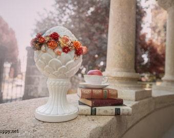 Floral Crown medium red, orange and tan tones wedding flowers crown romantic vintage boho style