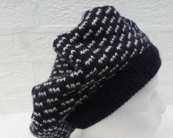Beret tam hat handmade blue hat ladies winter hat wool beret tam head accessories womens beret tam chunky hat large beret tam afro wool hat