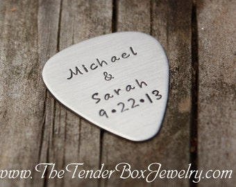 Personalized guitar pick hand stamped stainless pick BFPXX Father's Day