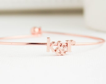 Initial Bangle, Anniversary Gift, Rose Gold Initial Bangles, Rose Gold Bangles, Rose Gold Bracelet, Bangles