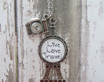 Live Love Travel Eiffel Tower Glass Pendant Necklace With Silver Camera W/Crystal Charm