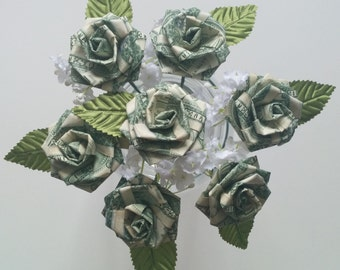Origami Money Rose for Wedding/ Party Favors/ Anniversary/ Prom/ Birthday/ Sweet 16/ Graduation/ Mother's Day/ Homecoming/ Arts & Crafts