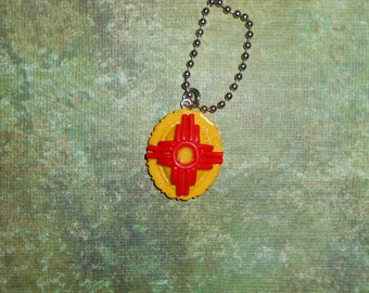 New Mexico Zia Necklace, made in Albuquerque, New Mexico, southwest jewelry, Red and yellow zia pendant, NM flag,