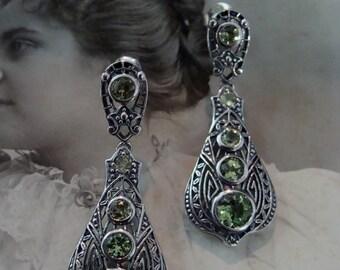 Sterling Filigree Genuine Peridot Victorian design Earrings...Lovely