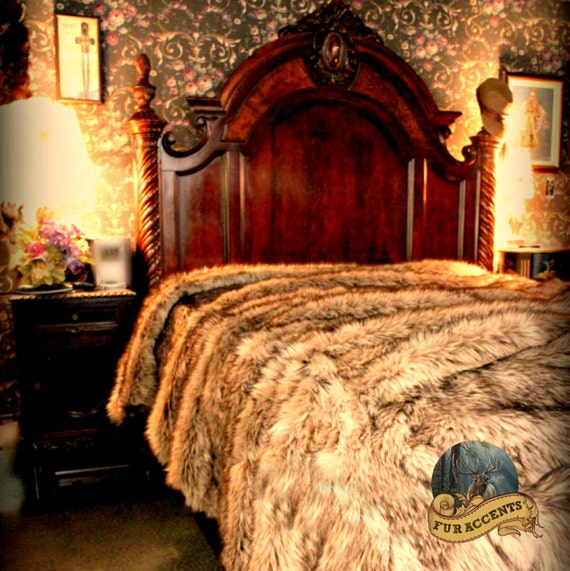 FUR ACCENTS Exotic Faux Fur Bedspread / Timber Wolf Throw