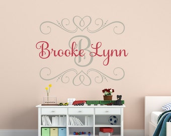 Exceptional Baby Girl Wall Decal Shabby Chic Name Wall Decal Heart Wall Decal Monogram Wall  Decal Childrenu0027s Part 15