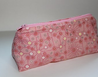 Pink Zippered Makeup Pouch with Silvery Glitter