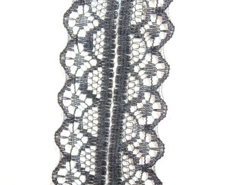 Black Embroidered Net Lace Trim Ribbon 28mm wide