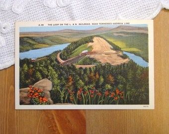 Vintage Postcard, Louisville and Nashville Railroad - 1940s Linen Paper Ephemera