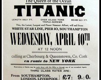 Titanic Maiden Voyage Advert Poster 1912 - Print