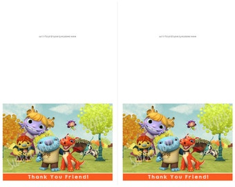 Wallykazam Birthday Cards, Thank you cards Instant download-By Sweet Willow Designs