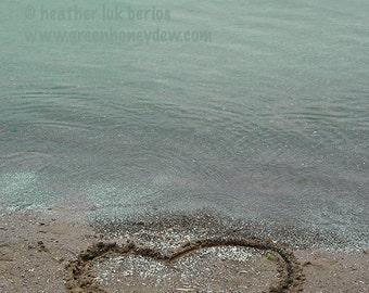 Beach Photography - Love Heart Sand Writing Wall Decor - Fine Art Photography Print, Neutral, Teal, Serene