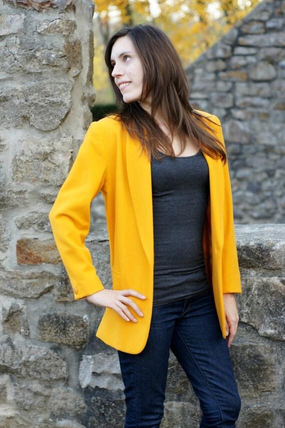 Veste boyfriend vintage blazer de laine de 1980s 1990s - Blazer jaune moutarde ...