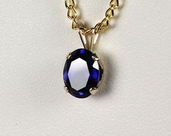 Blue Sapphire 14K Yellow Gold Pendant / Necklace