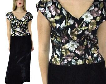Vintage 70s Sparkly Floral Evening Velvet-like Maxi Gown Dress