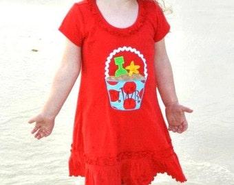 PERSONALIZED BEACH PAIL Sand Pail Red Ruffle Dress