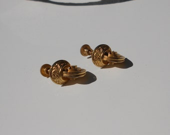 Antique earrings, 1940s western Art Deco earrings screw back gold tone FREE USA SHIPPING