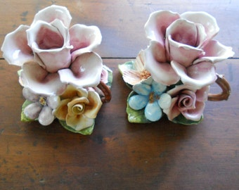 Candle Holders Vintage Floral Blossoms Clay Pottery