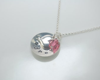 Girl birthstone necklace, Heart necklace, Personalized disc with heart charm and birthstone charm