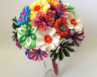 Vintage Brooch Bouquet Inspired Paper Flowers Retro 60's Flower Power Origami Bridal Bouquet