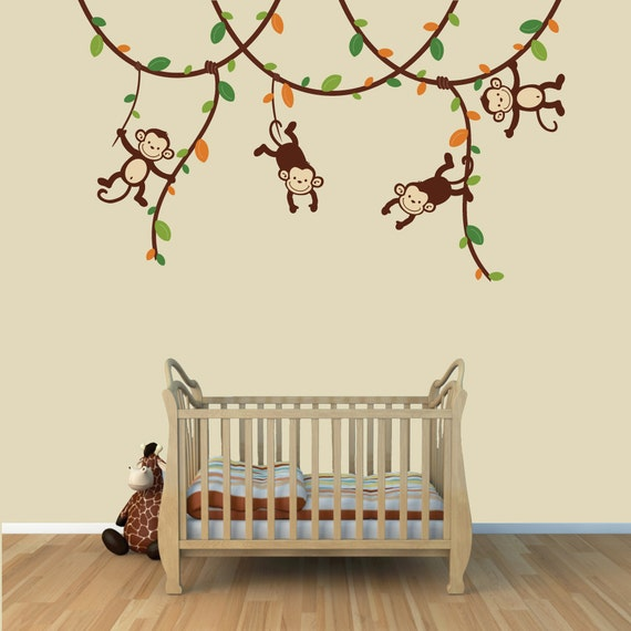 monkey murals monkey wall murals childrens wall mural wall. Black Bedroom Furniture Sets. Home Design Ideas
