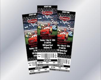Disney Cars Birthday Invitation - Ticket Style