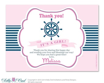 Girl Nautical Thank you Card with Personalization Girl Nautical Baby Shower or Birthday Card DIY - ao41bsp1