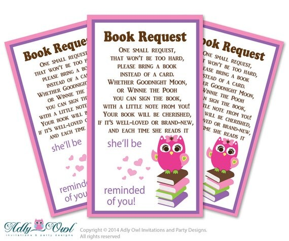 girl owl book request baby shower printable diy tickets book instead