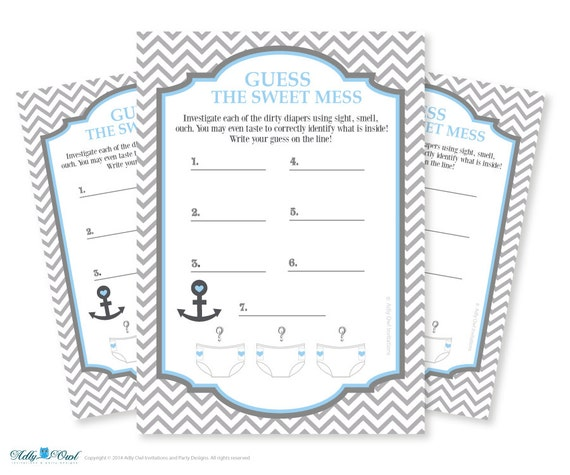 Boy Nautical Dirty Diaper Game, Guess Sweet Mess For Baby Shower Printable  Card For Baby Nautical Shower DIY Navy Grey Chevron   Ao81bs17