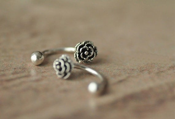 925 sterling silver simple flower retro bellybutton by